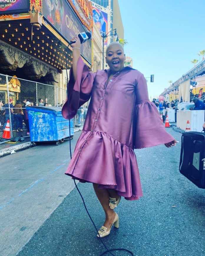 She bought the Dress from Chinatown – Twitter reacts to Anele Mdoda's Oscars dress