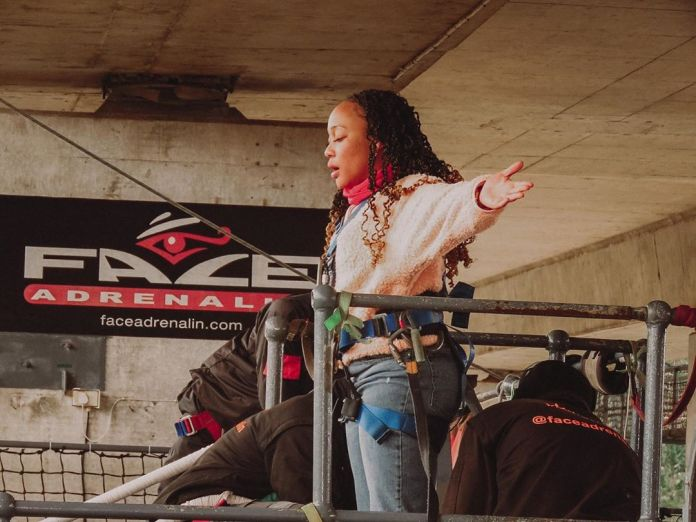 Inside actress Thando Thabethe's bungee jumping – Pics & Video