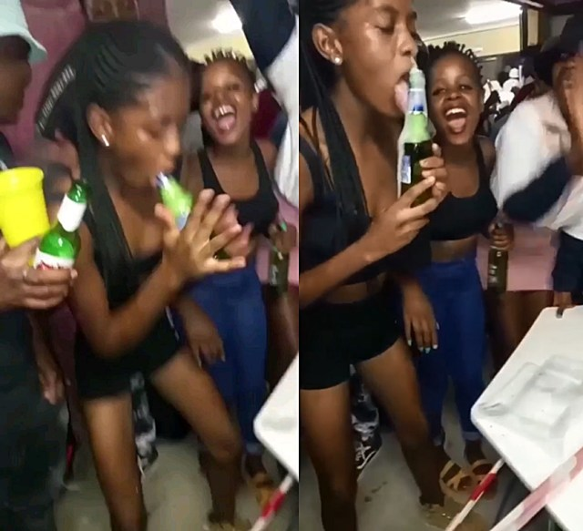 Video of young SA woman suck!ng a beer bottle in the club – Watch