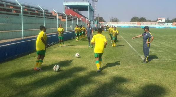 Basetsana going through the drills at Nkoloma Stadium on Friday afternoon