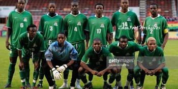 The Zambia team line up during the International Friendly match between Ghana and Zambia at Brisbane Road on August 12, 2009 in London, England.