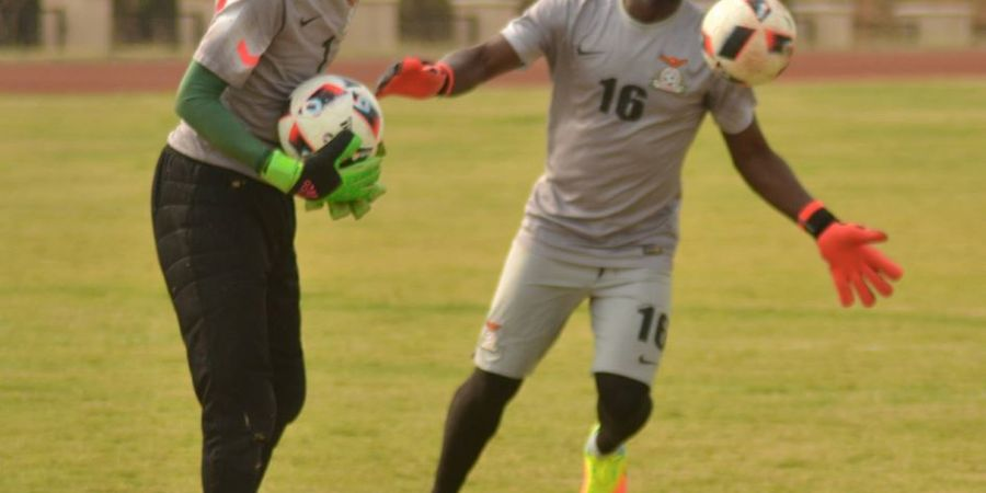 Goalkeepers Jacob Banda and Kennedy Mweene in training