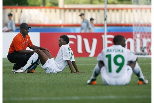 Kola and Mayuka look dejected after the youngs were eliminated by Nigeria in the last 16. In 2008, the two strikers were dubbed as Zambia's symbol of present and future with Stopilla Sunzu by the ZamFoot Crew