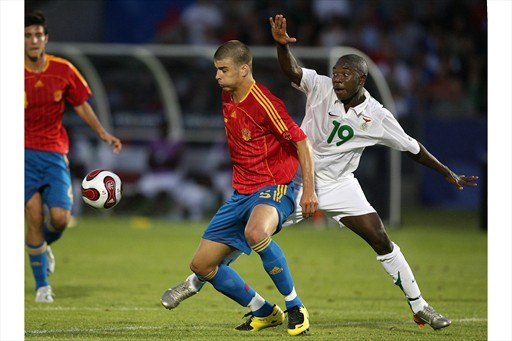 Then at Manchester United, Gerald Pique came up against Kabwe Warriors starlet Mayuka