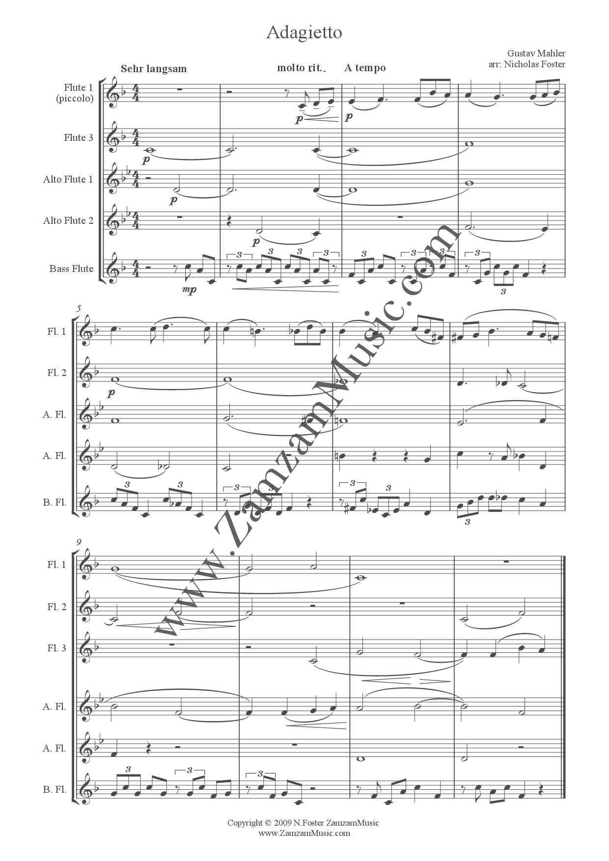 5Th Symphony mahler - adagietto from 5th symphony for flute choir. - zamzam music