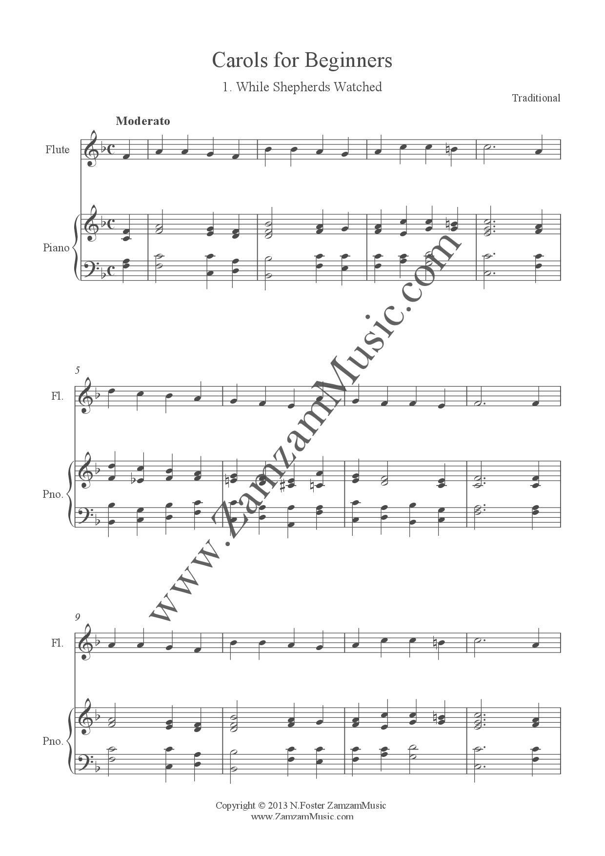 12 Christmas Carols For Beginner Level Flute And Piano Zamzam Music