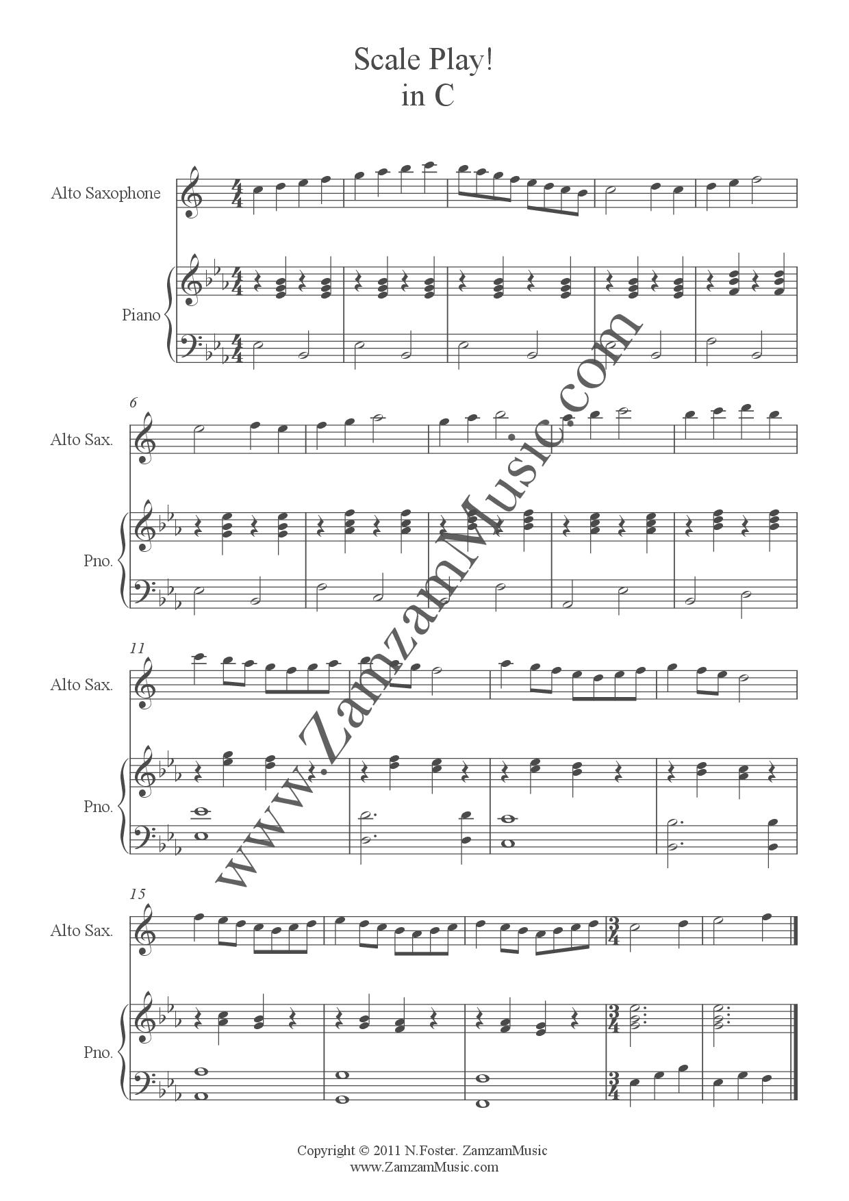 Top Five Alto Saxophone Scales Sheet - Circus