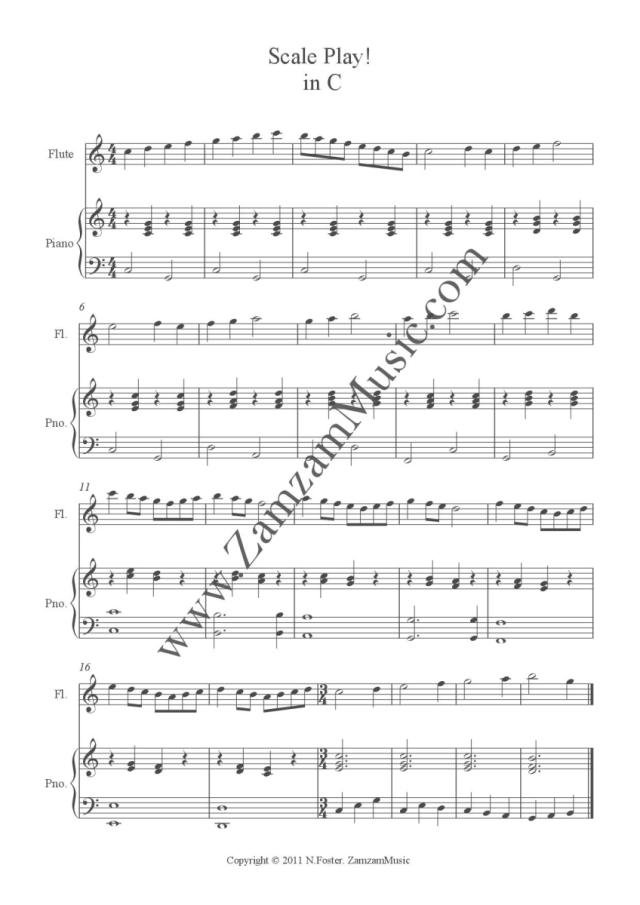 All Music Chords sheet music scale : Scale Play! #1 for Flute and Piano – original scale exercises in ...