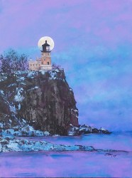 Split Rock Lighthouse - 12x16 acrylic © Zan Savage Image is a Zan Savage original. Copying, altering, printing or redistribution of any images without written permission from the Artist is strictly prohibited.