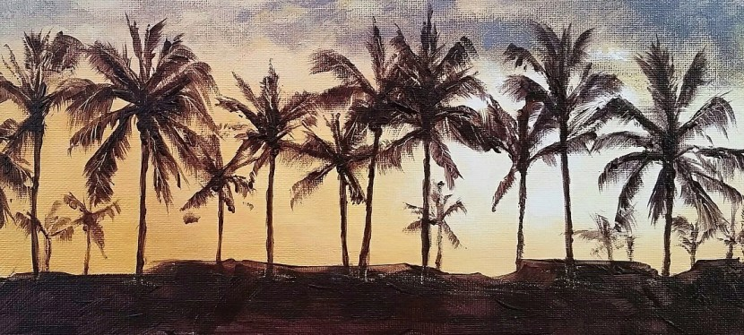 Acrylic Golden Palms