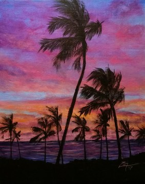 Maui Palms at Sunset - 11x14 - acrylic © Zan Savage Image is a Zan Savage original. Copying, altering, printing or redistribution of any images without written permission from the Artist is strictly prohibited.