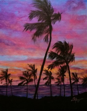 Maui Palms at Sunset - 11x14 - acrylic © Zan Savage Image is a Zan Savage original. Copying, altering, printing or redistribution of any images without written permission from the Artist is strictly prohibited. Image is a Zan Savage original. Copying, altering, printing or redistribution of any images without written permission from the Artist is strictly prohibited.
