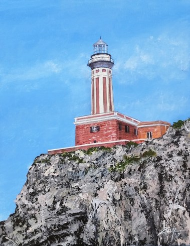 Palette Knife -Capri Lighthouse - 11x14 acrylic - All images are copyright © Suzan Savage. Copying, altering , displaying, printing or redistribution of any images without written permission from the Artist is strictly prohibited.