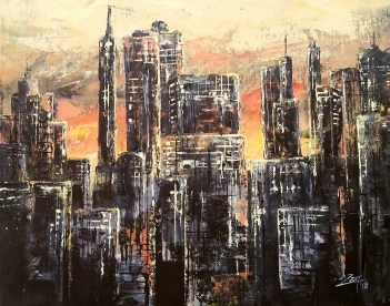 Abstract Cityscape- 11x14 acrylic palette knife - All images are copyright © Zan Savage. Copying, altering , displaying, printing or redistribution of any images without written permission from the Artist is strictly prohibited.