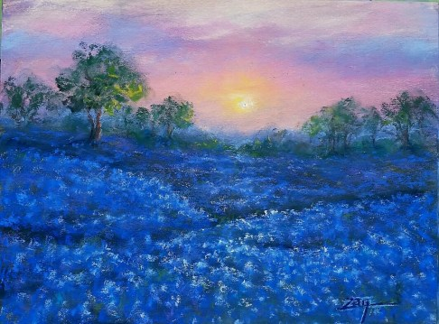 Bluebonnet Sunrise - 9x12 pastel All images are copyright © Zan Savage. Copying, altering, printing or redistribution of any images without written permission from the Artist is strictly prohibited.