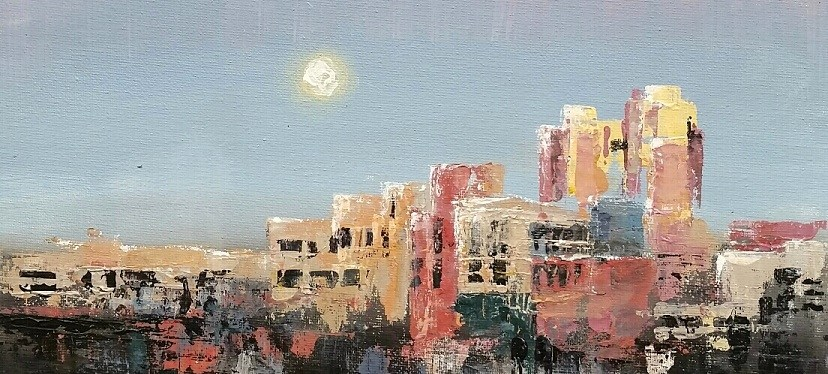 Acrylic Day Moon over Fort Worth