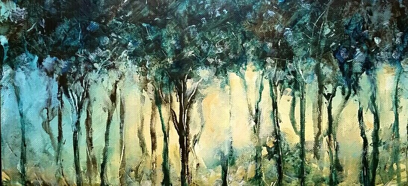 Acrylic Summer Drip Trees