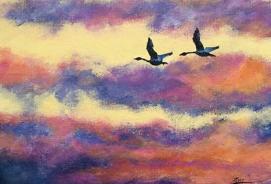 Acrylic Tundra Swans at Sunrise