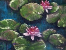 Waterlilies 9x12 pastels © Zan Savage - All images are copyright © Zan Savage. Copying, altering, printing or redistribution of any images without written permission from the Artist is strictly prohibited.