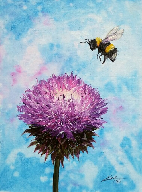 Bumblebee Thistle 9x12 acrylic © Zan Savage All images are Zan Savage originals. Copying, altering, printing or redistribution of any images without written permission from the Artist is strictly prohibited.