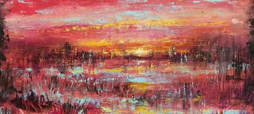 Acrylic Easy Abstract Marsh Sunset