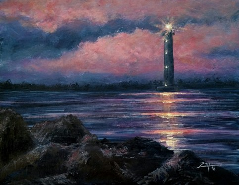 Morris Island Lighthouse 11x14 acrylic ©Zan Savage Image is a Zan Savage original. Copying, altering, printing or redistribution of any images without written permission from the Artist is strictly prohibited.