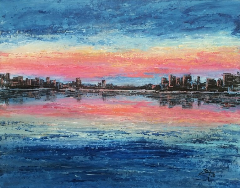 Sunrise over the City 11x14 acrylic © Zan Savage Image is a Zan Savage original. Copying, altering, printing or redistribution of any images without written permission from the Artist is strictly prohibited.