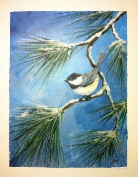 Chickadee 11x14 tapped acrylic © Zan Savage Image is a Zan Savage original. Copying, altering, printing or redistribution of any images without written permission from the Artist is strictly prohibited.