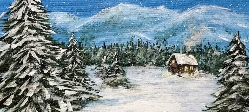 Acrylic Cabin in the Snow