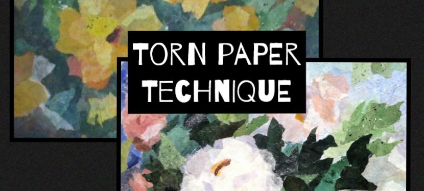 Mixed Media Torn Paper Technique
