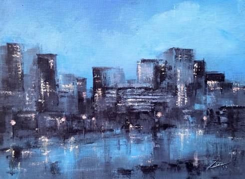 Abstract Seattle Skyline 9x12 acrylic ©Zan Savage Image is a Zan Savage original. Copying, altering, printing or redistribution of any images without written permission from the Artist is strictly prohibited.