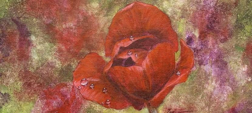 Acrylic Tulip with Raindrops