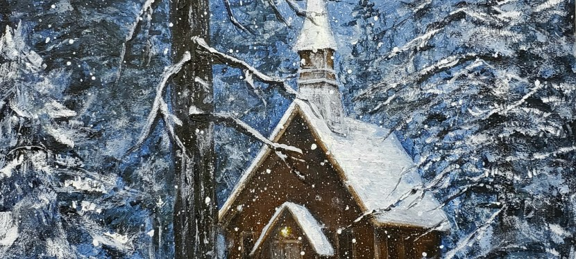 Acrylic Chapel in the Snow