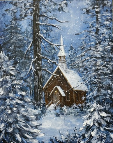 Chapel in the Snow 11x14 acrylic©Zan Savage Image is a Zan Savage original. Copying, altering, printing or redistribution of any images without written permission from the Artist is strictly prohibited.