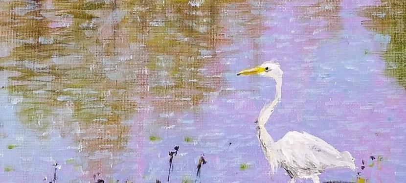 Acrylic Egret Reflection