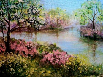 Spring Lakeside 9x12 acrylic© Zan Savage All images are copyright © Zan Savage. Copying, altering, printing or redistribution of any images without written permission from the Artist is strictly prohibited.