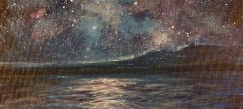 Acrylic Sea Under Moon