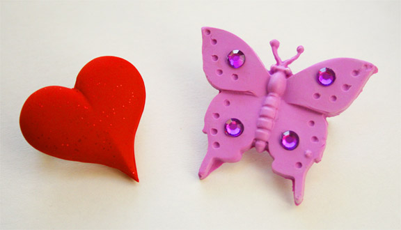 Heart and Butterfly Polymer Clay Pins made with Zanda Panda Kaleidoscope Collection Molds