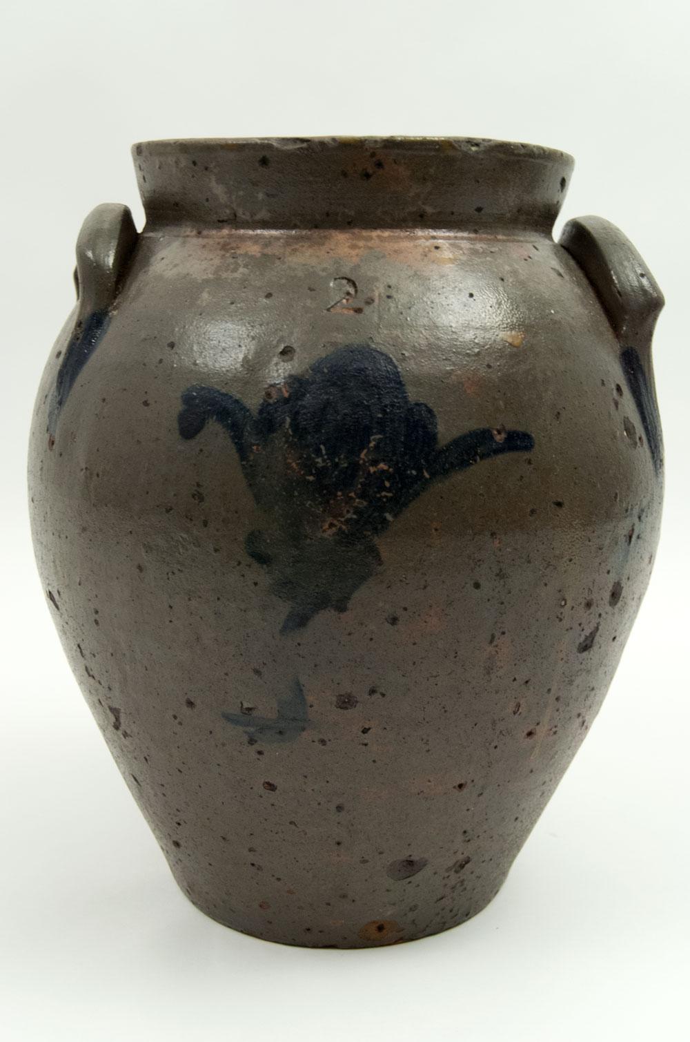 1830s Ovoid Ohio Antique Blue Decorated Stoneware Storage