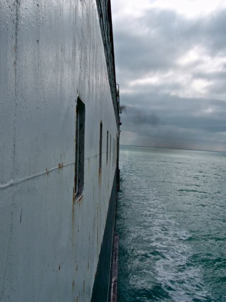 The Soviet-era cargo ship Dagestan took us safely across the Caspian in 15 hours, a record crossing for the rusty train ferry.