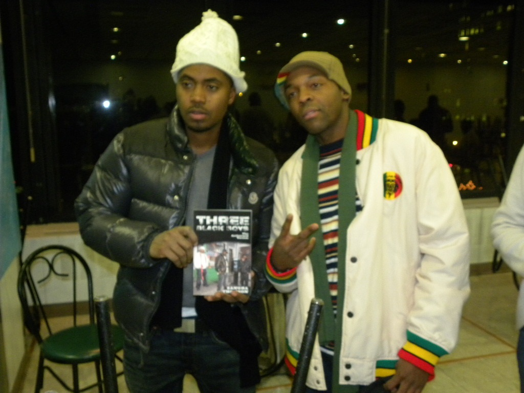 Zangba and Nas at Maria Davis' event in Harlem