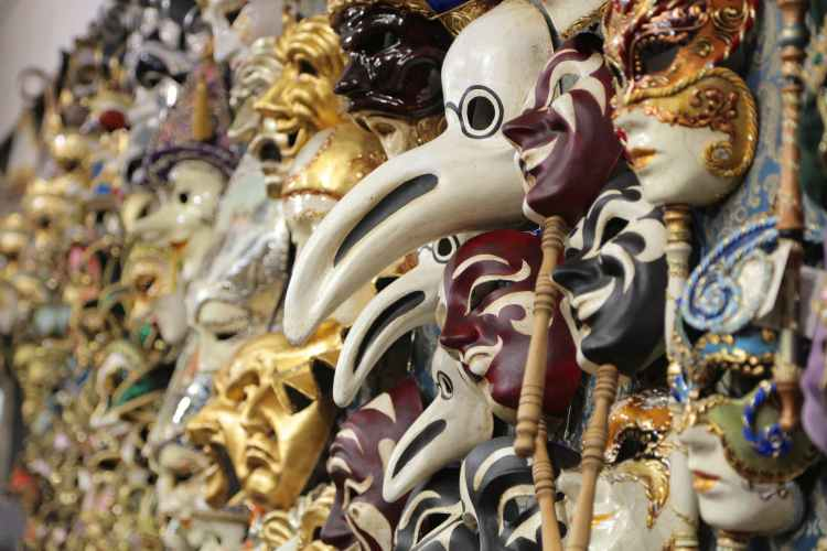 venetian traditional masks for sale in stall