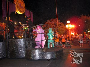 Pain and Panic from Hercules on the back of the first Villains float