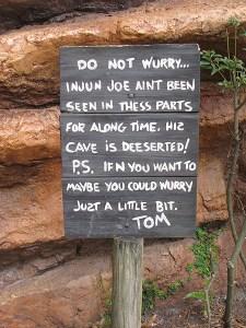 Injun Joe cave sign