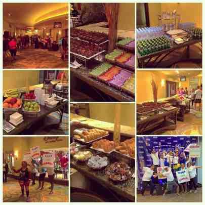 Crazy huge breakfast set-up & cheering for runners at Marathon Weekends!