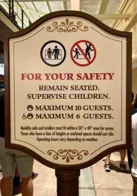Disney Skyliner safety sign