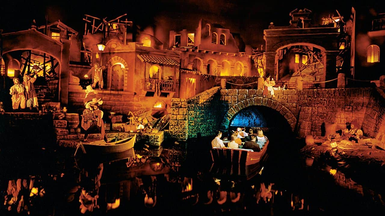 Pirates of the Caribbean village fire scene