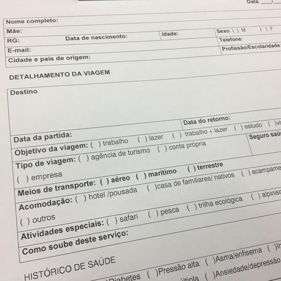 Formulário para atendimento no médico do viajante