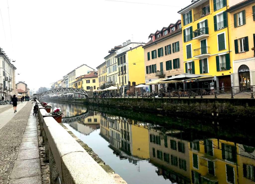 Naviglio em Milão no frio