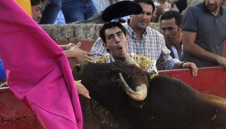 O toureiro Saúl Jimenez Fortes apanhado por um touro em Salamanca